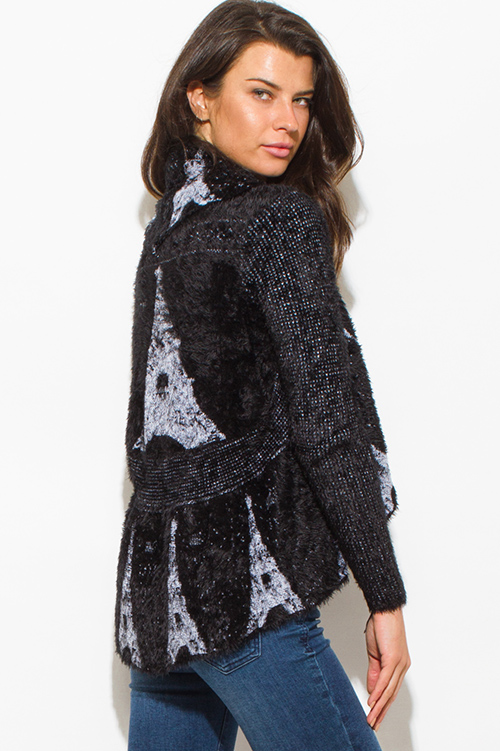 Cute cheap black textured graphic print open front embellished cocoon fuzzy knit sweater cardigan top