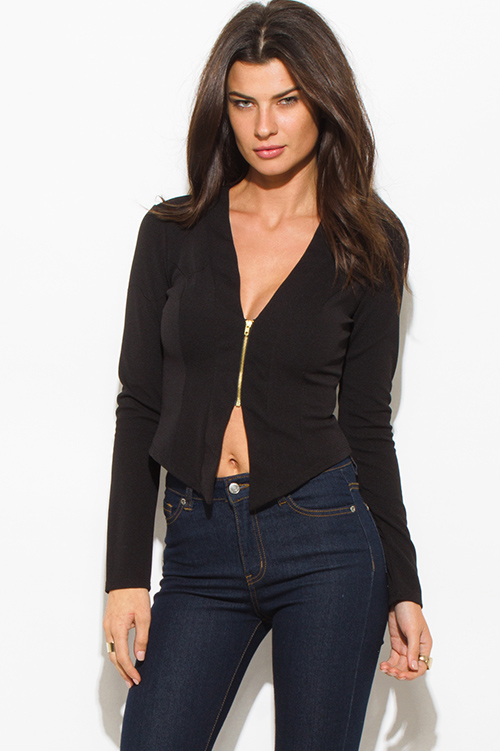 Cute cheap black textured long sleeve asymmetrical hem zip up fitted jacket top