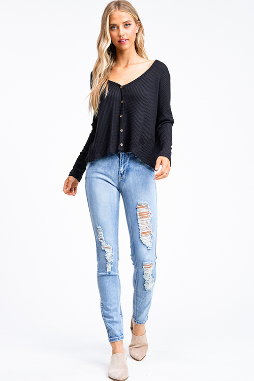 Cute cheap Black thermal knit long sleeve cropped boho button up top