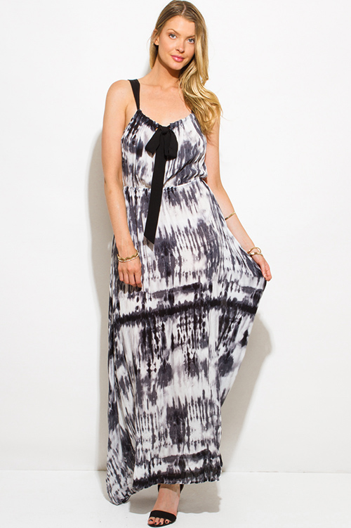 Cute cheap black tie dye print boho maxi sun dress