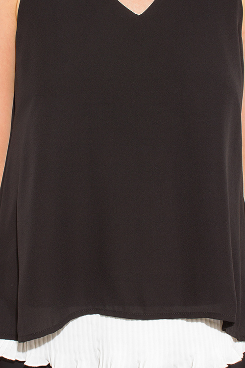 Cute cheap black tiered layered sleeveless pleated contrast scallop hem blouse tank top
