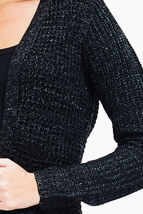 Cute cheap black two tone waffle knit long sleeve open front pocketed boho sweater duster cardigan