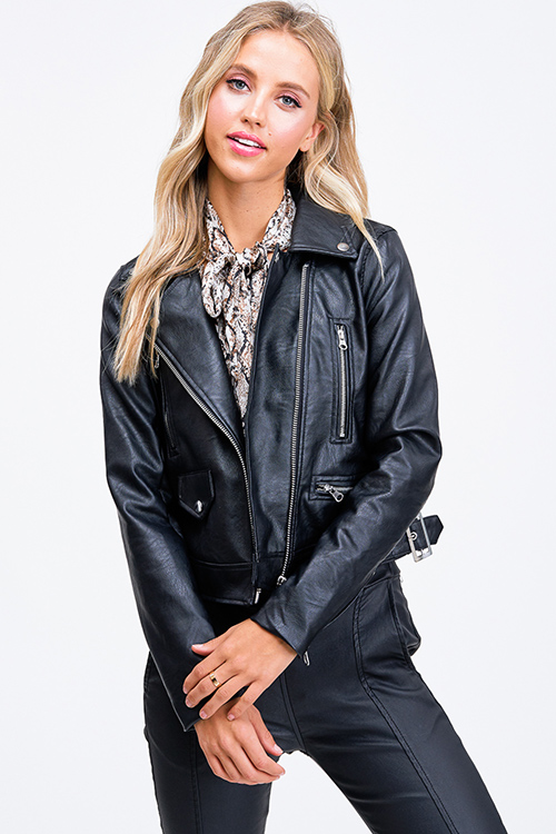 Cute cheap Black vegan faux leather asymmetrical zip up moto biker jacket