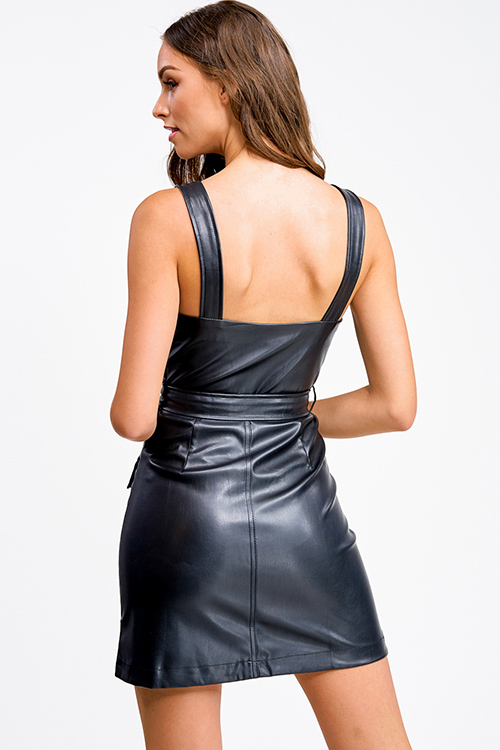 Cute cheap Black vegan leather sleeveless zip up belted pocketed club mini dress