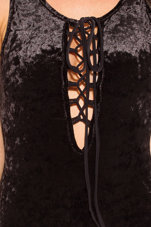 Cute cheap black velvet deep v neck laceup sleeveless open back bodysuit top
