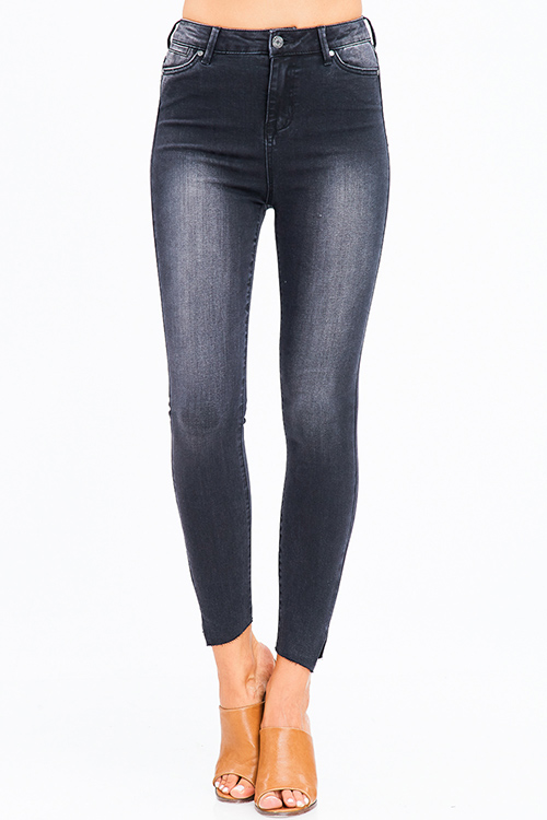 Cute cheap black washed denim high waisted angle cut slit hem sculpt skinny jeans