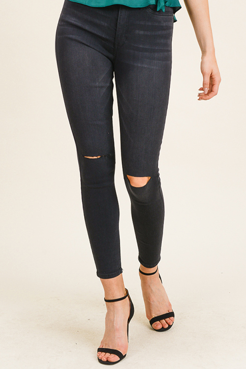 Cute cheap Black washed denim high waisted distressed ripped knee fitted skinny jeans