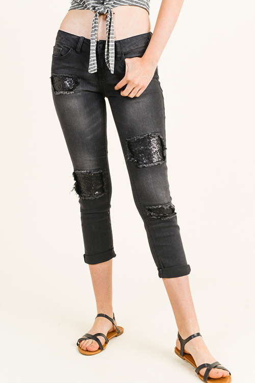 Cute cheap Black washed denim mid rise sequined patch distressed cuffed hem cropped skinny jeans