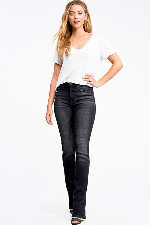 Cute cheap Black washed distressed denim mid rise boot cut jeans