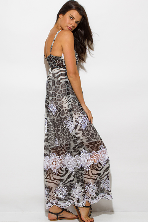 Cute cheap brown animal print chiffon embroidered scallop trim boho maxi sun dress