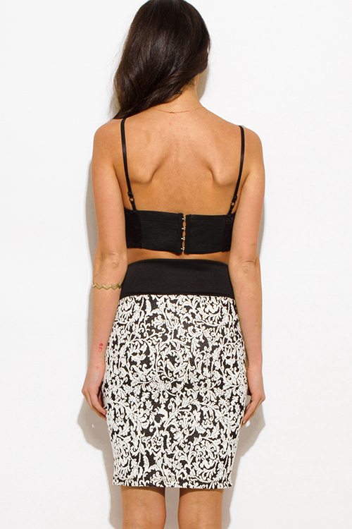 Cute cheap black/white baroque knit high waisted fitted pencil skirt