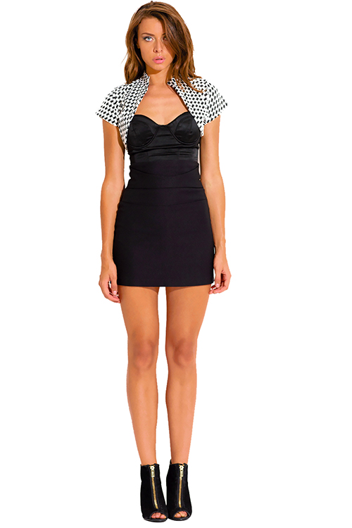 Cute cheap black and white houndstooth print bolero blazer crop top
