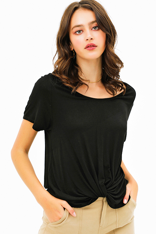 Cute cheap Black wide scoop neck knot front short sleeve boho tee shirt top