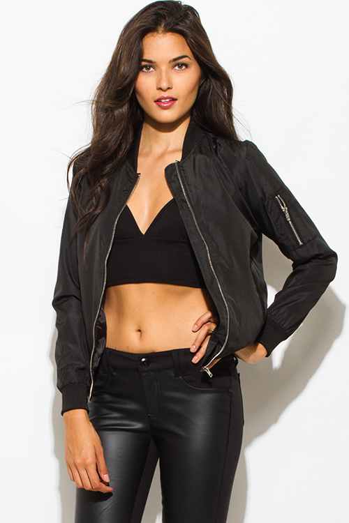Cute cheap black zip up banded bomber jacket top