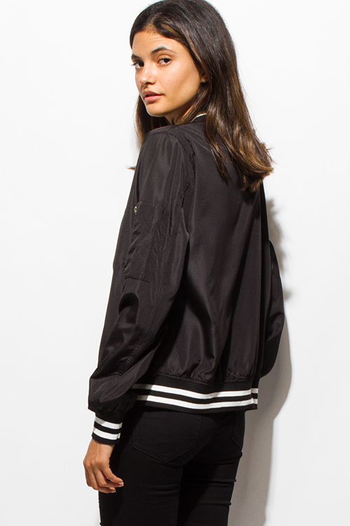Cute cheap black zip up stripe banded cropped bomber jacket