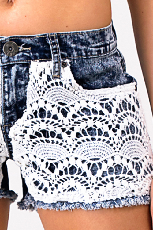 Cute cheap Blue acid washed denim crochet lace contrast pocketed boho jean shorts