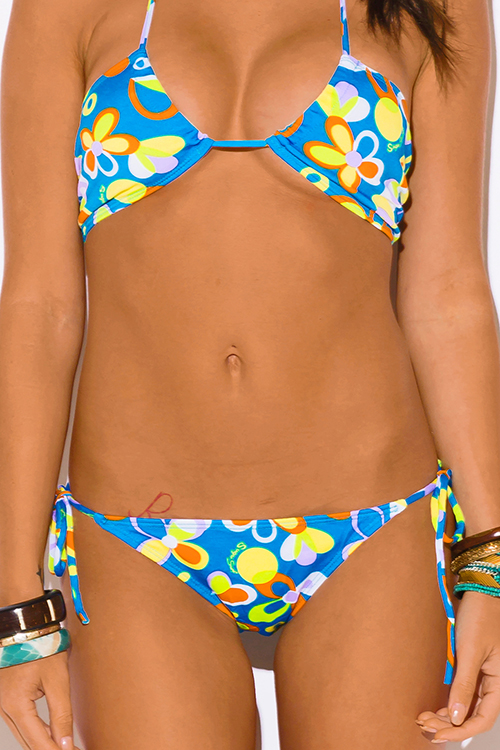 Cute cheap blue and yellow floral print bikini swimsuit set