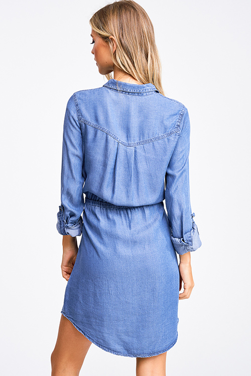 Cute cheap blue chambray long sleeve button up drawstring belted boho shirt dress