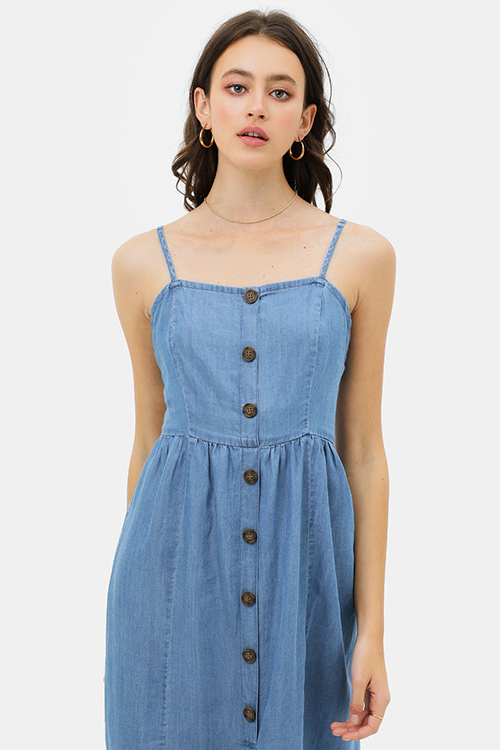 Cute cheap Blue chambray sleeveless button trim boho midi sun dress