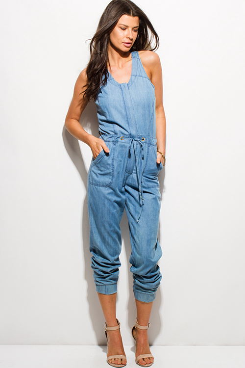 Cute cheap blue chambray sleeveless button up cut out back pocketed harem lounge jumpsuit