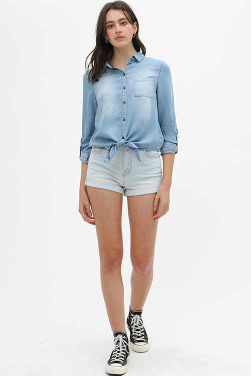 Cute cheap Blue chambray tie hem button up boho denim blouse top