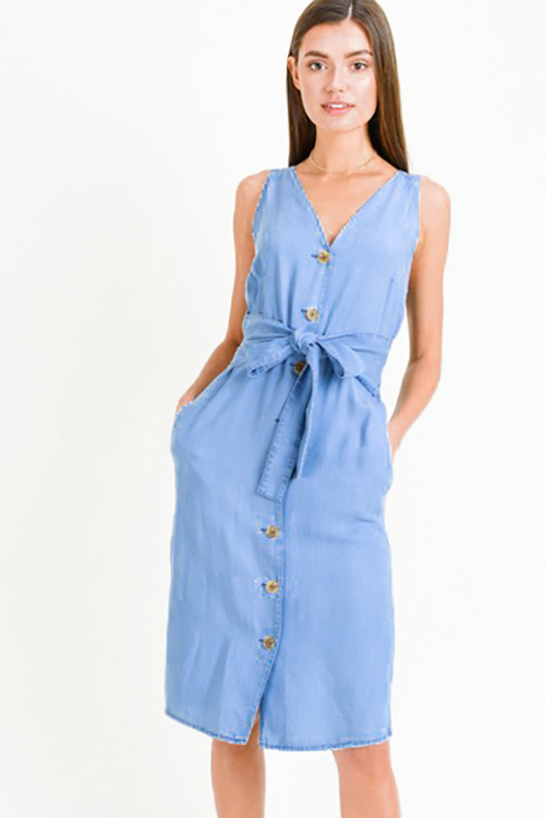 Cute cheap Blue chambray v neck sleeveless button up belted pocketed side slit boho midi dress
