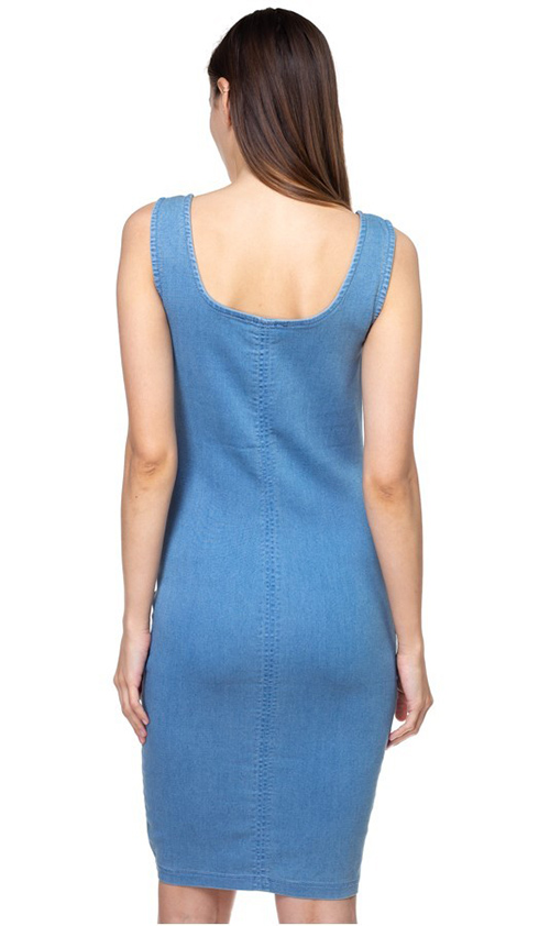 Cute cheap Blue denim square neck sleeveless bodycon fitted midi tank dress