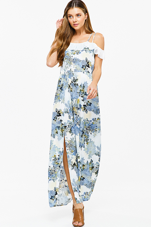 Cute cheap Blue floral print sleeveless off shoulder ruffle trim side slit boho party maxi sun dress
