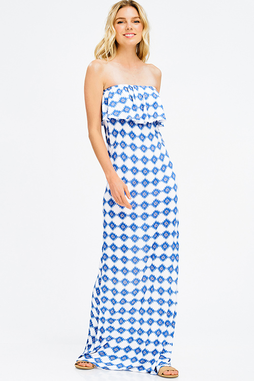Cute cheap blue ikat abstract ethnic print tiered strapless boho evening maxi sun dress