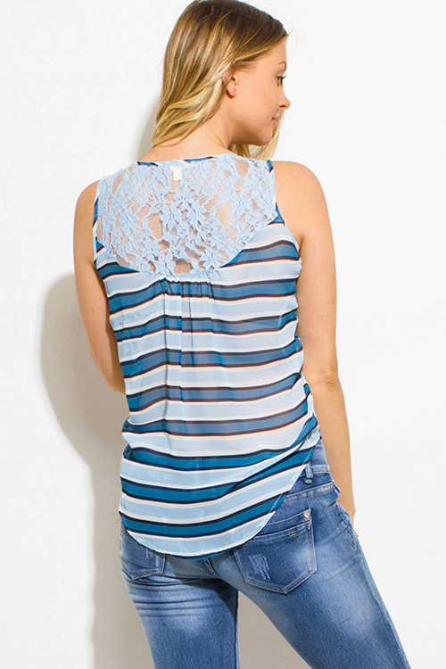 Cute cheap blue multicolor striped semi sheer chiffon lace contrast button up blouse tank top