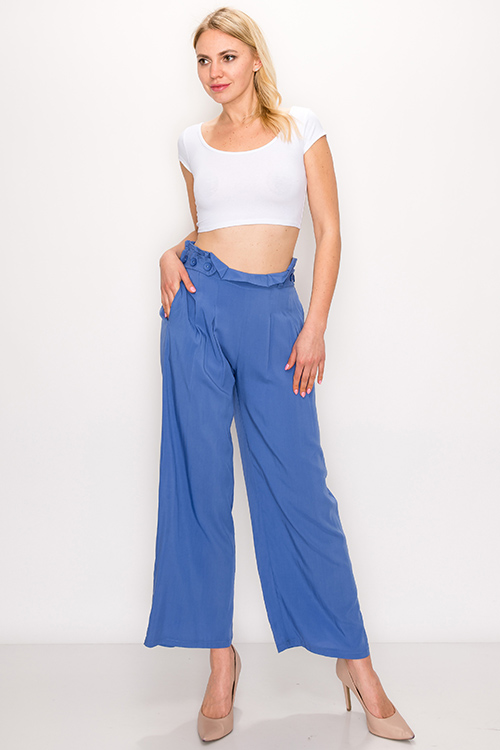 Cute cheap Blue paperbag high waisted pocketed wide leg boho resort culotte pants