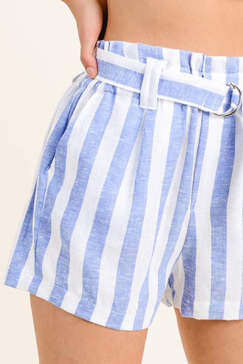 Cute cheap Blue striped linen belted pocketed resort boho paperbag summer shorts