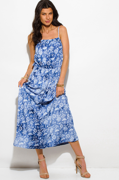 Cute cheap blue tie dye butterfly floral print spaghetti strap boho maxi sun dress