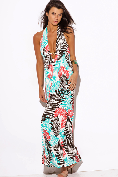 Cute cheap blue tropical palm print bejeweled draped backless babydoll summer party maxi dress