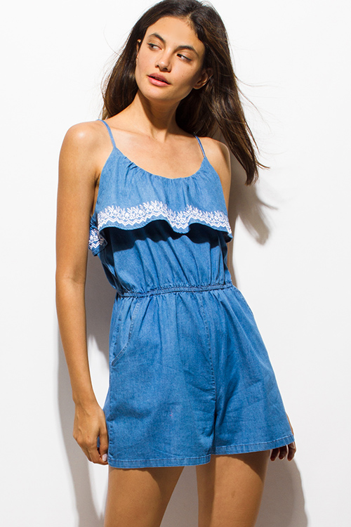 Cute cheap blue washed chambray embroidered ruffle tiered pocketed denim boho romper playsuit jumpsuit
