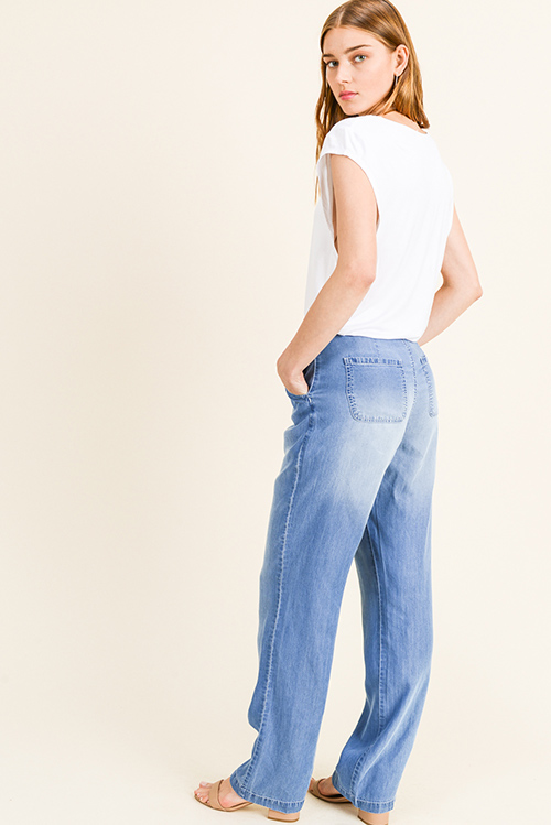Cute cheap Blue washed tencel chambray high rise button front pocketed boho wide leg pants
