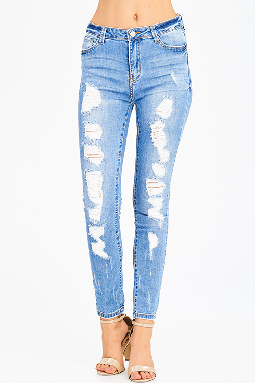 Cute cheap blue washed denim distressed frayed high rise waist fitted skinny jeans