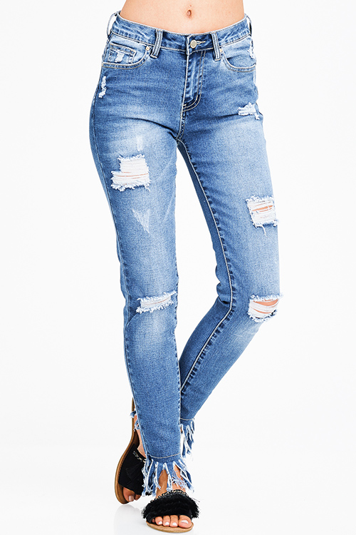 Cute cheap blue washed denim distressed ripped knee mid rise frayed hem boho fitted skinny jeans