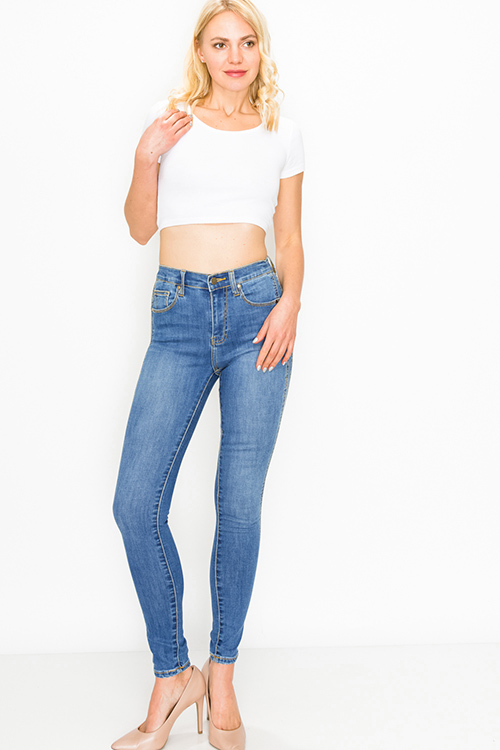 Cute cheap Blue washed denim double side stitched high waisted fitted skinny jeans