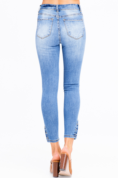 Cute cheap blue washed denim high rise waisted distressed  pin hem detail skinny jeans