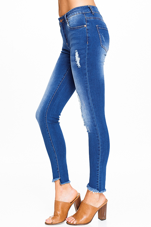 Cute cheap Blue washed denim high waisted distressed cutoff frayed hem fitted skinny jeans