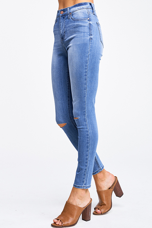 Cute cheap Blue washed denim high waisted distressed ripped knee fitted skinny jeans