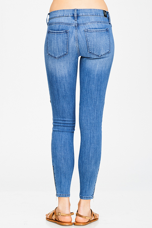 Cute cheap blue washed denim low rise ankle fitted zipper pocekted cargo skinny jeans