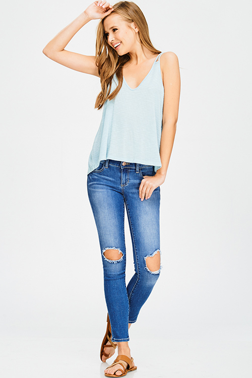 Cute cheap blue washed denim mid rise cut out distressed ankle fitted skinny jeans
