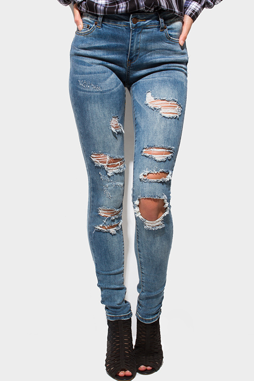 Cute cheap blue washed denim mid rise destroyed ripped skinny jeans