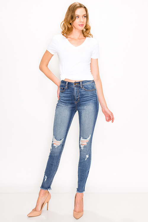 Cute cheap Blue washed denim mid rise distressed cut off hem fitted skinny jeans