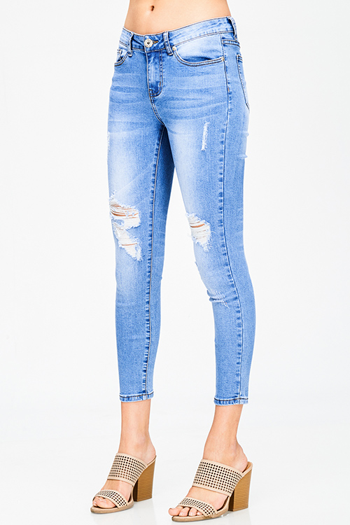 Cute cheap blue washed denim mid rise distressed destroyed cropped ankle fit skinny jeans