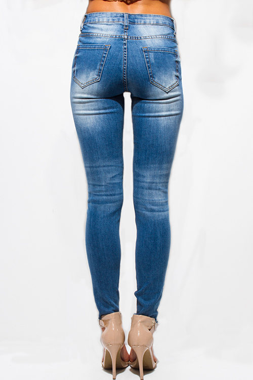Cute cheap blue washed denim mid rise distressed frayed ripped skinny fit jeans