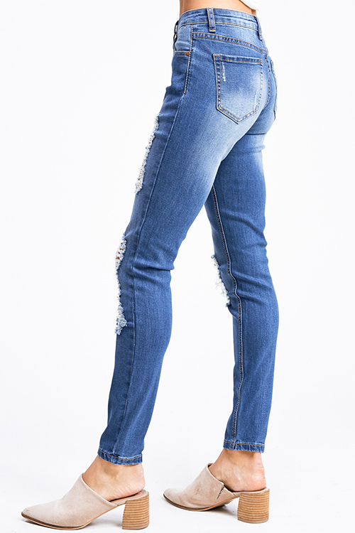 Cute cheap Blue washed denim mid rise distressed ripped fitted skinny jeans
