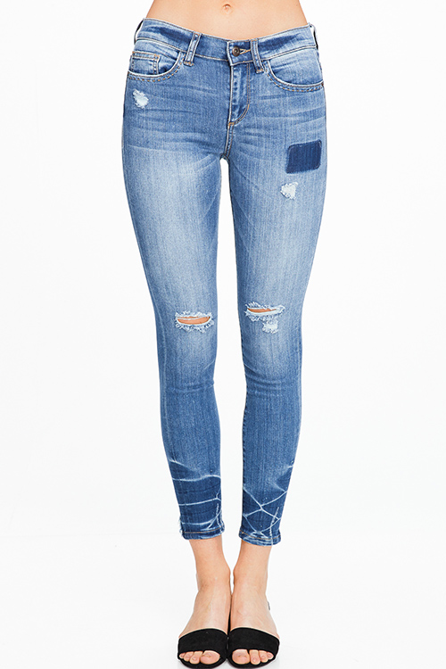 Cute cheap Blue washed denim mid waist distressed ripped knees exposed stitch boho skinny jeans